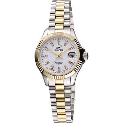 ENICAR 英納格 自動系列璀燦晶鑽機械女錶-白x雙色版/28mm