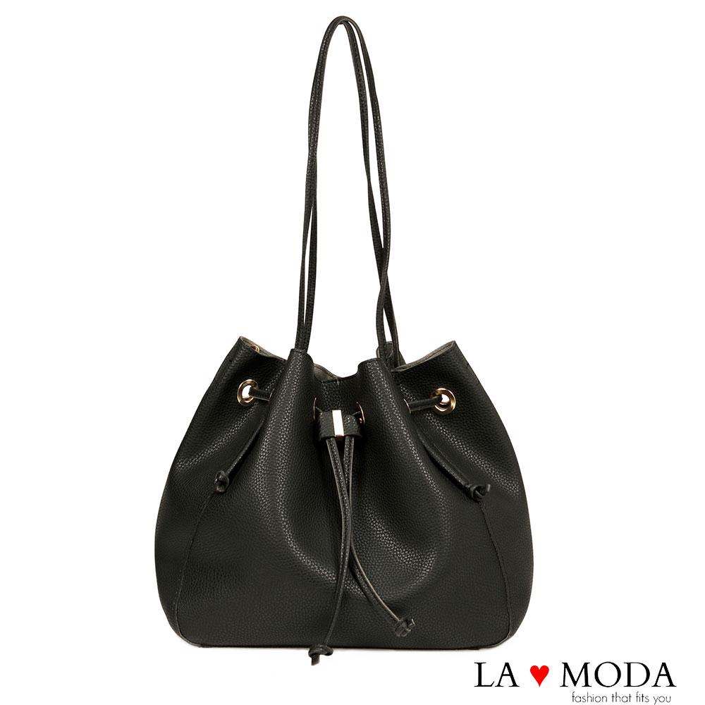 La Moda 出國旅遊必備超大容量多種揹法肩背斜背水桶包(黑)