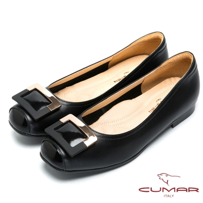 CUMAR法式優雅-方形飾釦小方頭平底鞋-黑色