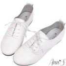 Ann'S全羊皮Q軟文青牛津英倫小白鞋-白