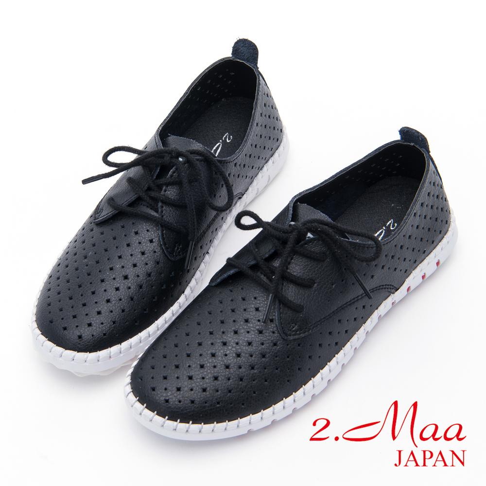 2.Maa-沖孔綁帶牛皮平底休閒鞋-黑