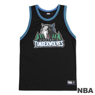 NBA-明尼蘇達灰狼隊經典印花運動背心-黑