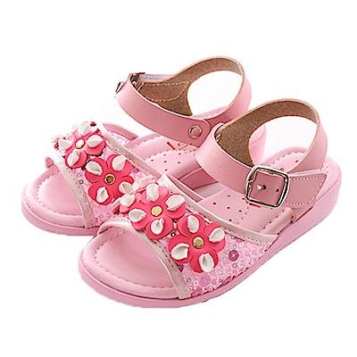 花朵亮片魔鬼貼涼鞋 粉 sk0377魔法Baby