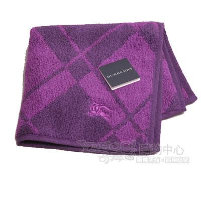 BURBERRY 經典戰馬刺繡蘇格蘭格紋小方巾(紫)