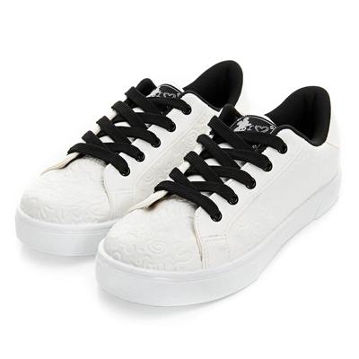 DISNEY 經典個性 米奇立體壓紋仿皮休閒鞋-白(女)