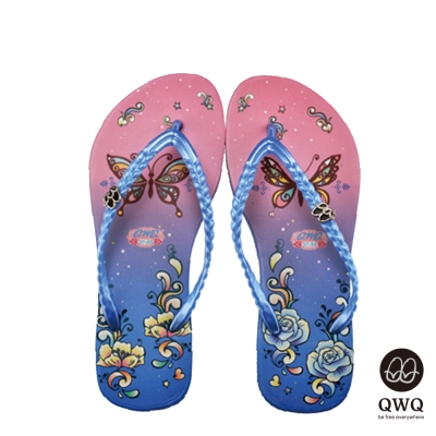 QWQ夾拖的創意(女)-蝶之花側鑽夾腳拖-藍