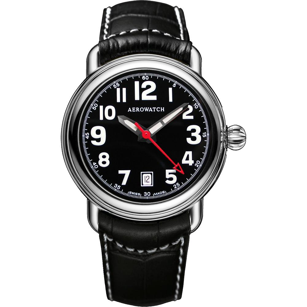 AEROWATCH 簡約紳士經典機械腕錶-黑/40mm