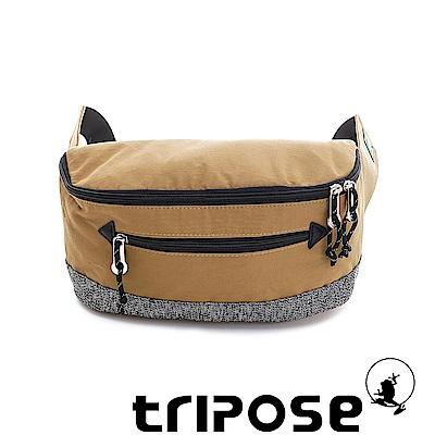 tripose 微旅輕量岩紋配色防潑水斜揹包 駝