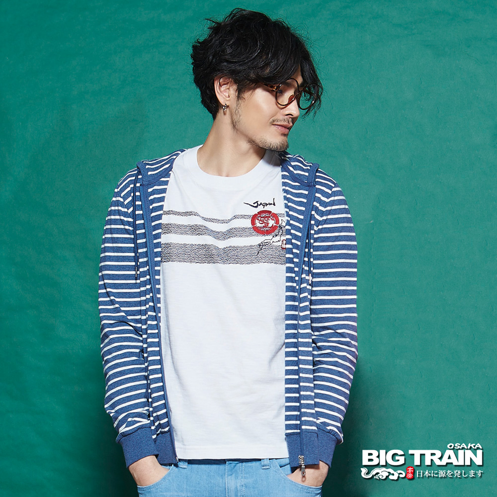 BIG TRAIN 男版條紋連帽外套-男-灰藍