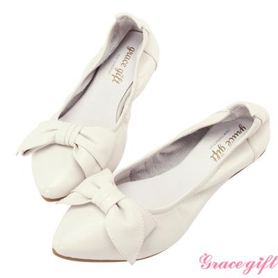 Grace gift-全真皮蝴蝶結摺疊娃娃鞋 白