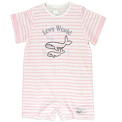 愛的世界 純棉圓領鯨魚條紋短袖連身褲