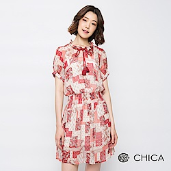 CHICA 初夏鄉村縮腰雪紡洋裝(附內搭)(2色)