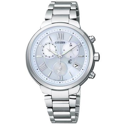 CITIZEN xC 美麗啟程 鈦金屬光動能計時腕錶(FB1330-55L)-藍/35mm