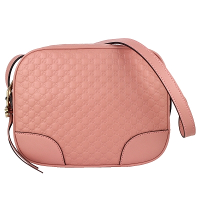 GUCCI Soho Disco 粉紅色皮革壓紋雙G吊飾斜背包