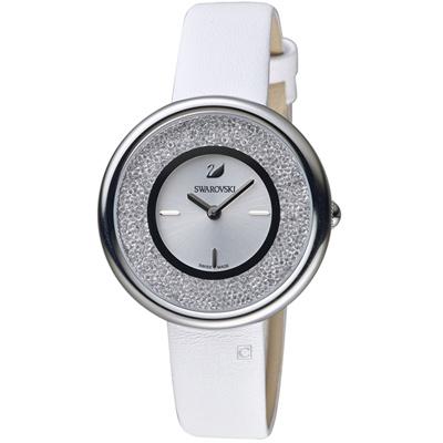 SWAROVSKI施華洛世奇Crystalline璀璨耀眼時尚腕錶-34mm/銀x白色
