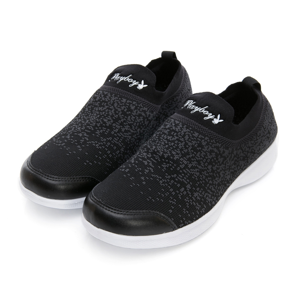 PLAYBOY彩織時尚 超輕量針織襪套休閒鞋-黑