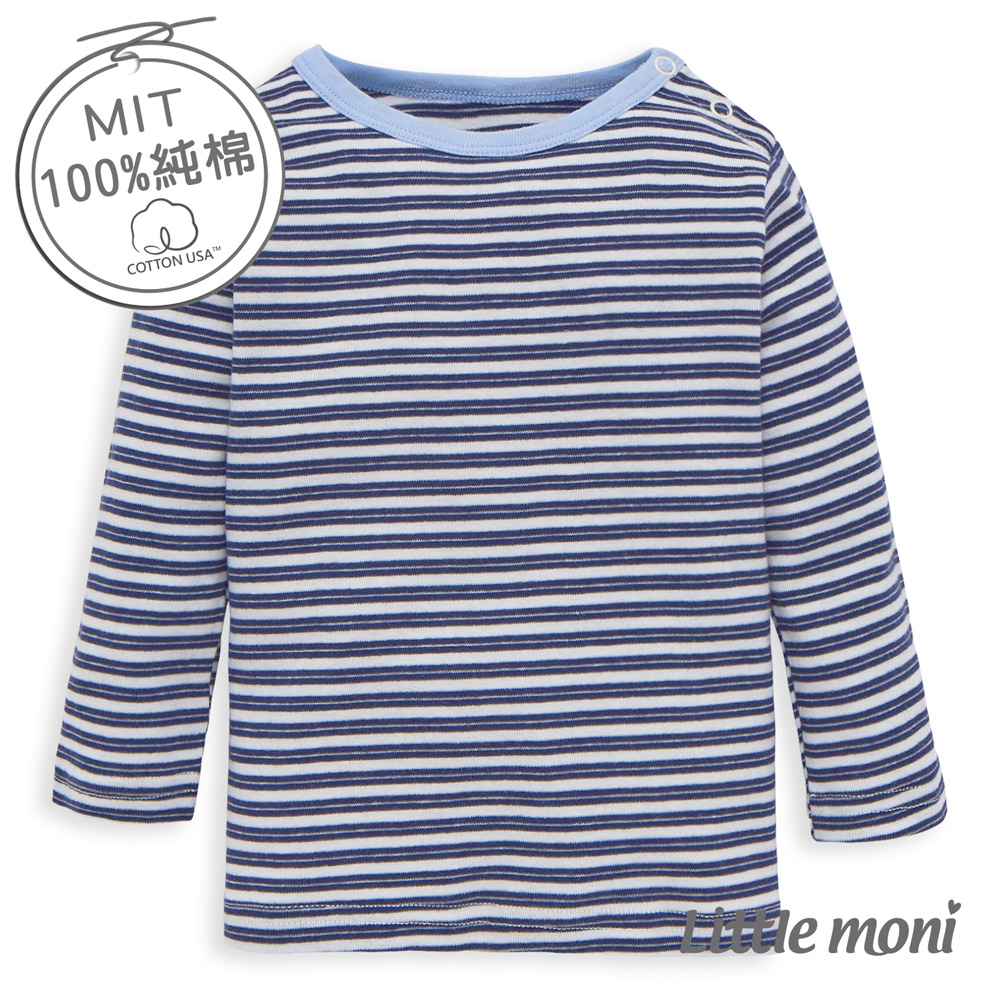 Little moni 純棉家居系列條紋幼兒長袖上衣 深藍