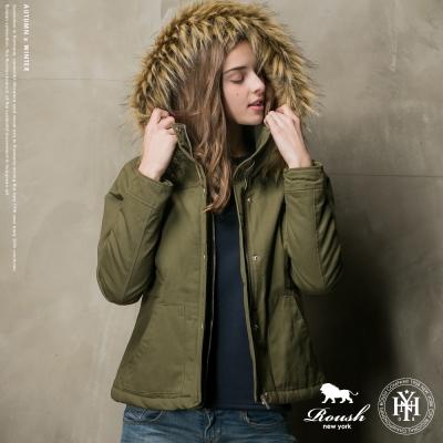 ROUSH 女生可拆式毛帽蝴蝶結鋪棉短大衣 (2色)