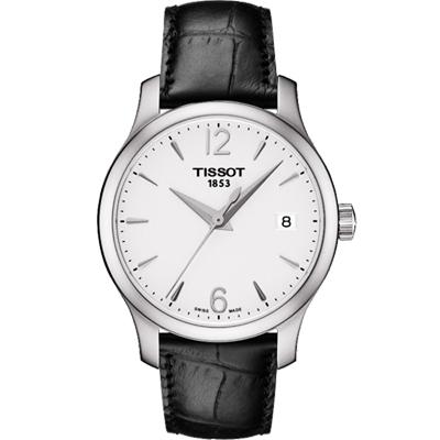 TISSOT 天梭 Tradition 大三針石英女錶-銀x黑/33mm