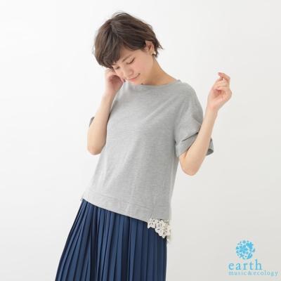 earth music 下擺拼接蕾絲設計短袖上衣