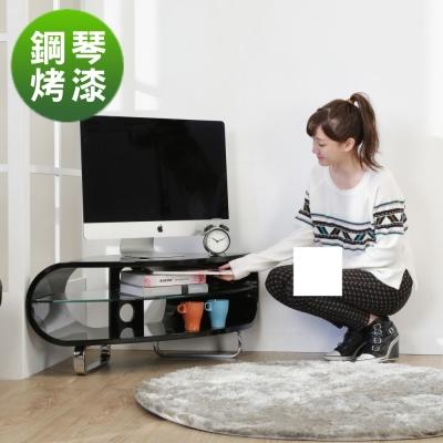 BuyJM鏡面扇形鋼琴烤漆轉角電視櫃/102公分-免組裝