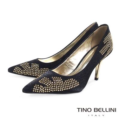 Tino-Bellini-巴西珠飾圖騰緞面跟鞋-黑