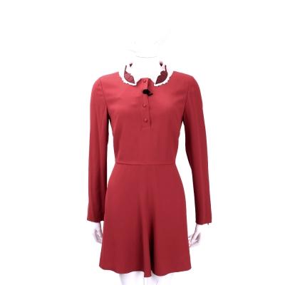RED VALENTINO 紅色造型領飾長袖洋裝