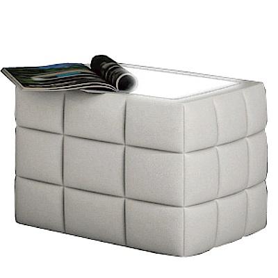 品家居 葛斯1.4尺皮革LED床頭櫃(二色可選)-41x41x41cm-免組