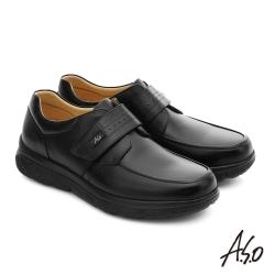 A.S.O 超能耐 羊紋牛皮奈米魔鬼氈皮鞋 黑色
