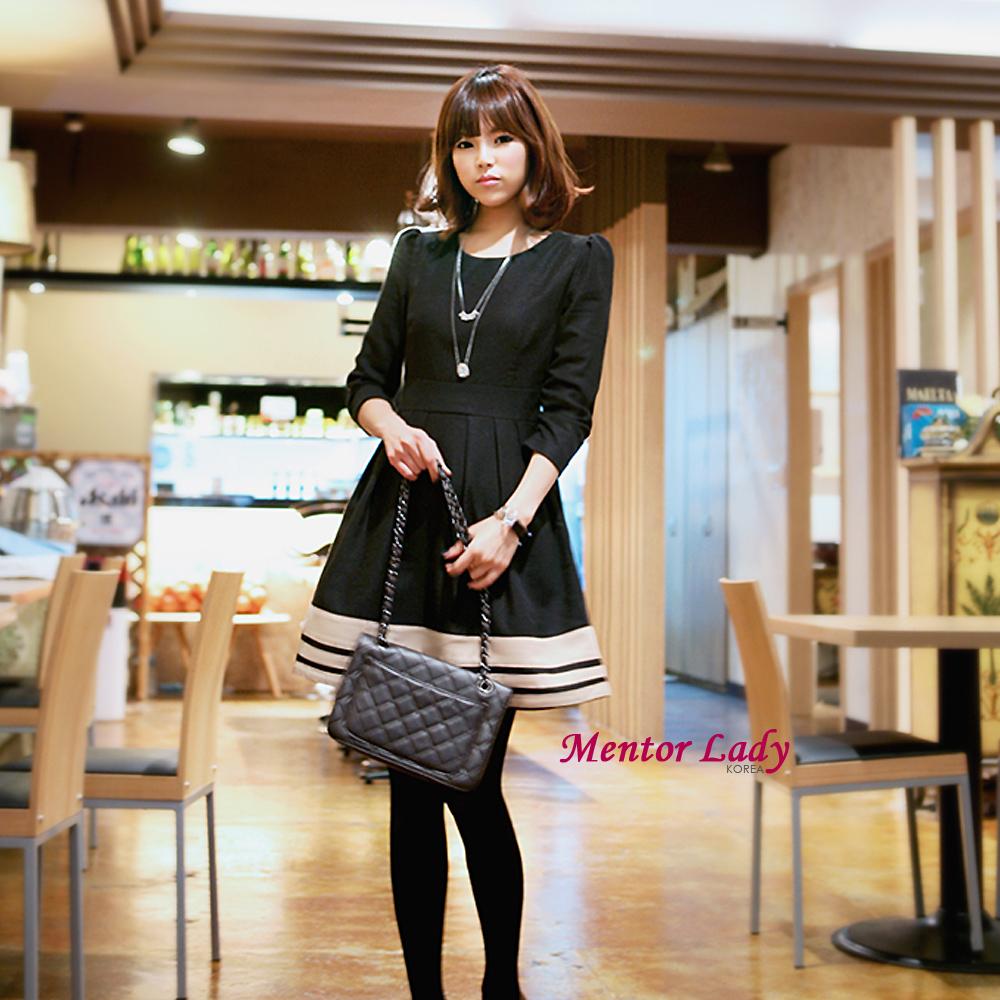 【Mentor Lady】黑白滾邊立體圓裙毛料洋裝 (黑色)