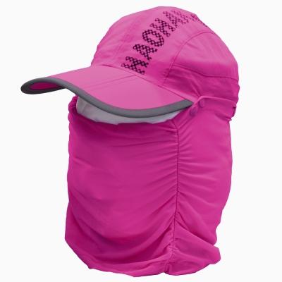 全方位防曬速乾 可拆式透氣護頸遮陽帽 (桃紅)
