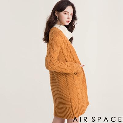 AIR SPACE 雙口袋麻花造型開襟針織外套(卡其)