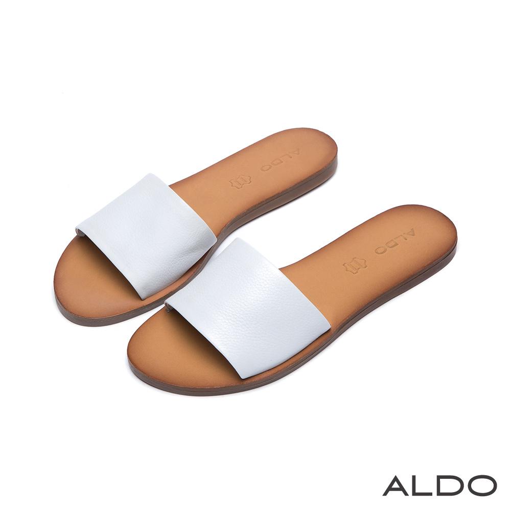 ALDO 典雅原色真皮寬版一字休閒涼鞋~清新白色
