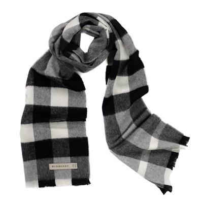 BURBERRY經典寬格紋喀什米爾長圍巾(灰黑/180x22)