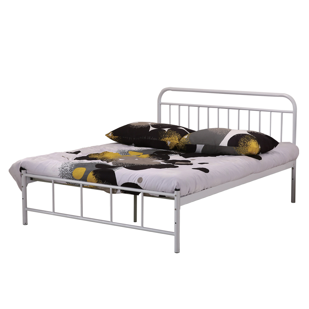 AT HOME - 卡爾 5 尺白色雙人鐵床 (150*200*100cm) (不含床墊)
