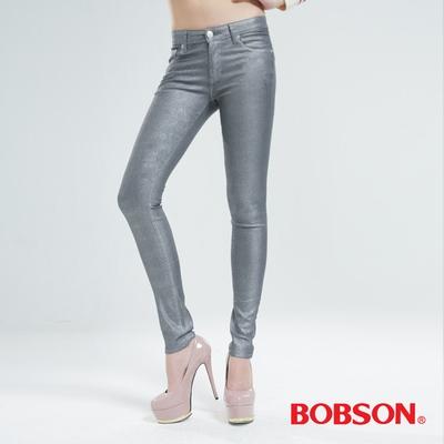 BOBSON 金銀色緊身小直筒牛仔褲(銀灰)