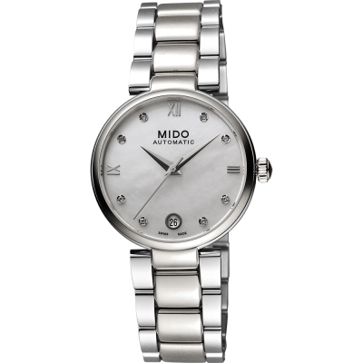 MIDO 美度 Baroncelli 優雅羅馬真鑽機械女錶-珍珠貝/33mm M0222071111610