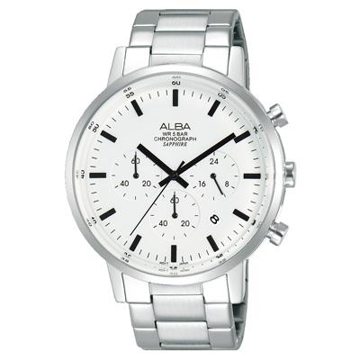 ALBA雅柏 Prestige 街頭酷流行計時男錶(AT3D35X1)-白x銀/42mm