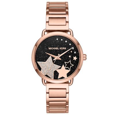 Michael Kors 銀河流星群時尚腕錶(MK3795)-黑x玫瑰金/36mm