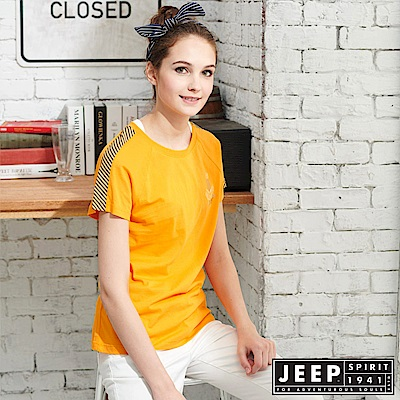 JEEP女裝 拼接圓領T恤-黃色