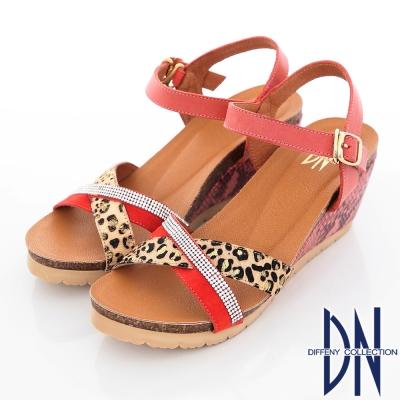 DN 性感魅力 MIT耀眼豹紋牛皮楔型涼鞋 橘紅