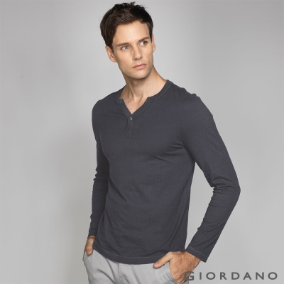 GIORDANO 男裝簡約素色羅紋亨利領長袖T恤 - 03 雪花標誌灰色