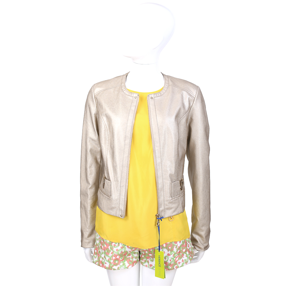 VERSACE 金色V字金屬飾皮外套(女款)
