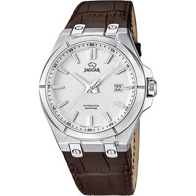 JAGUAR DAILY CLASS 經典機械錶-銀x咖啡/44mm