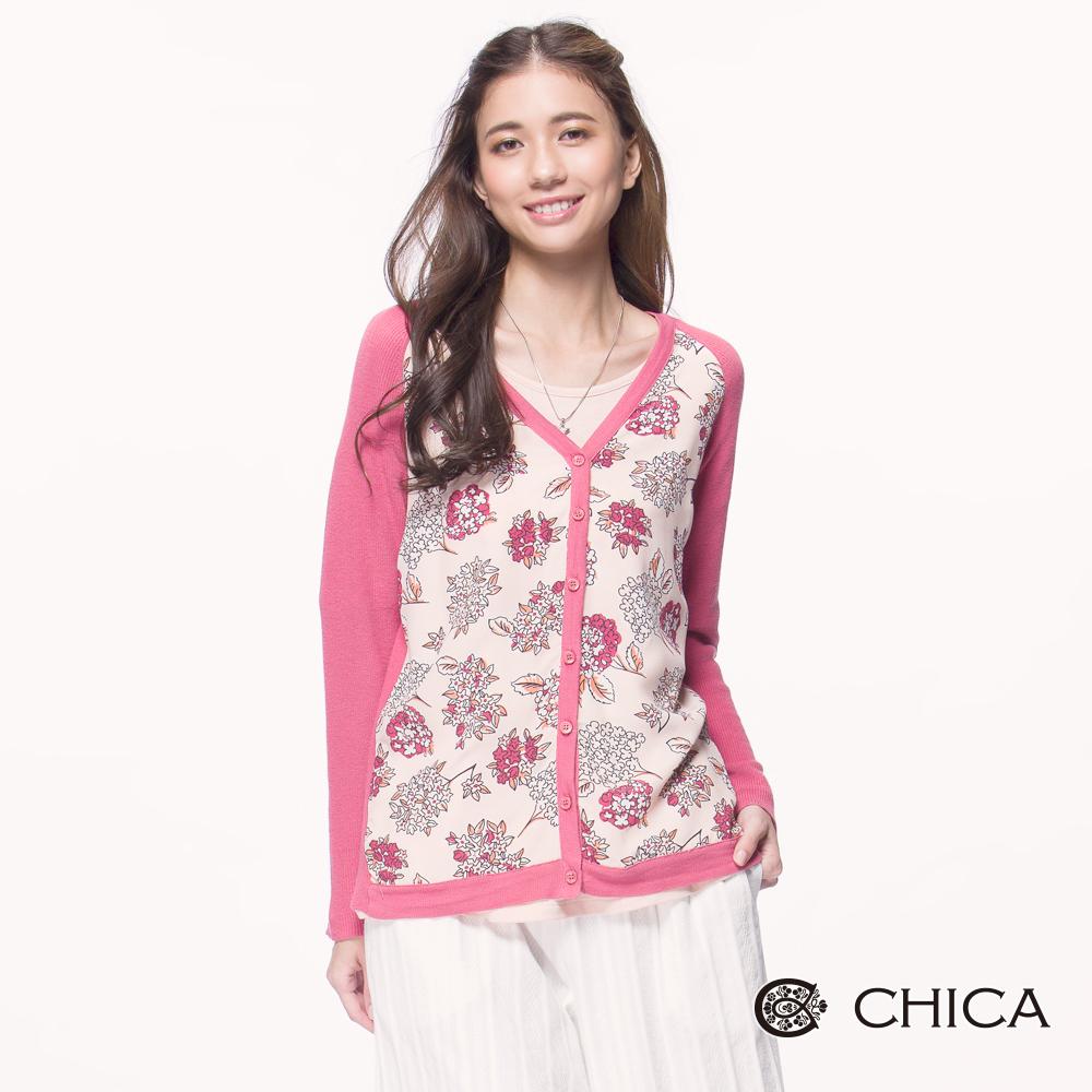 CHICA 日系恬靜手繪花束設計薄針織外套(2色)