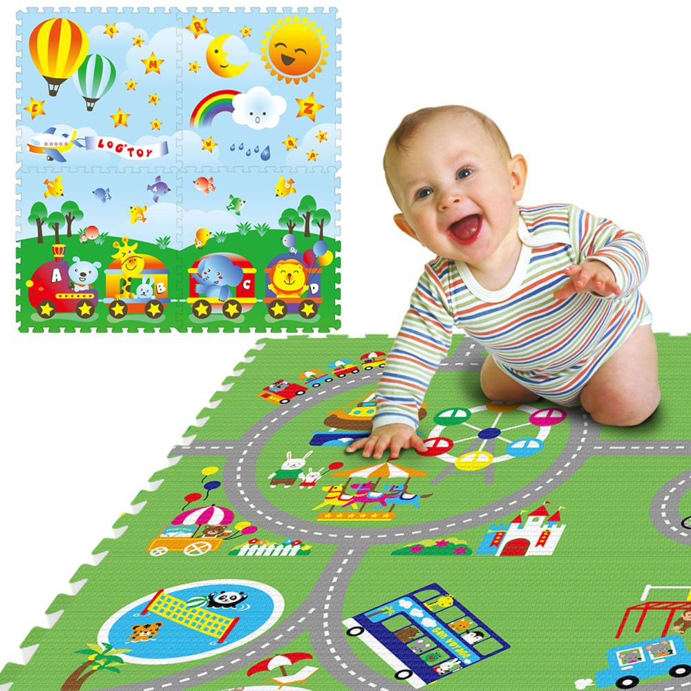 LOG樂格環保遊戲巧拼墊-雙面圖案動物遊樂園X動物火車60X60cmX厚2cm