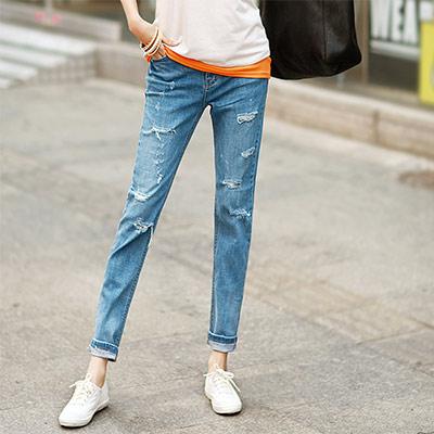 正韓-街頭風破損抽鬚刷色牛仔褲-藍色-N-C21
