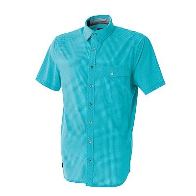 【Wildland 荒野】男彈性格子布短袖襯衫-藍綠