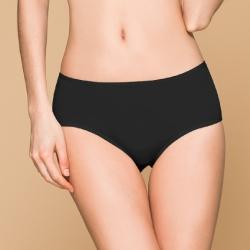 台灣製 保養級天然蠶絲蛋白低敏感透氣 M-XL 中腰內褲 神秘黑 可蘭霓Clany