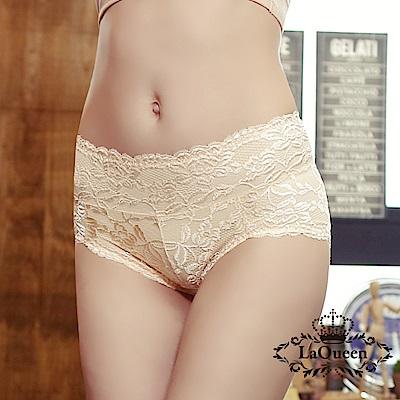 內褲  花漾蕾絲透氣全蠶絲內褲-膚 La Queen